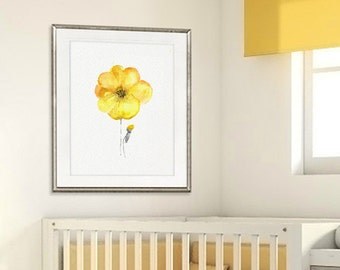 Yellow nursery decor, flower art print, watercolor painting flower, nursery yellow print - 26