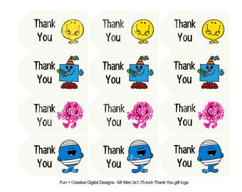 Mr Men Thank You Tags