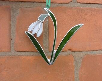 Stained Glass Snowdrop  suncatcher