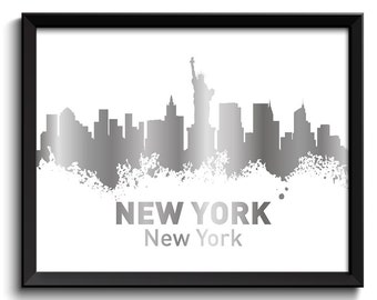 New York City Skyline White Shinny Metallic Silver Look Grey Gray Watercolor Cityscape Poster Print Modern Abstract Landscape Art Painting