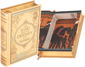 Hollow Book Safe - The Iliad and the Odyssey by Homer (Leather-bound) (Magnetic Closure)