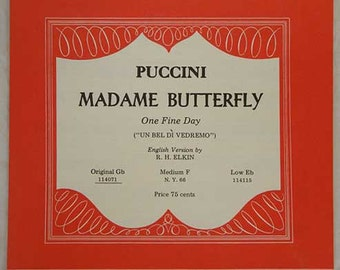 Puccini Madame Butterfly One Fine Day OR Puccini Tosca Love and Beauty Voice Sheet Music [2 OPTIONS] Vintage Sheet Music