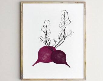 Beets Print, beets art, veggies art, kitchen art, modern kitchen art, textured beets, beets artwork, beets illustration, kitchen wall art