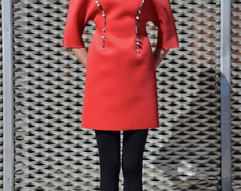 Red dress/women dress/red suit/embroidery suit