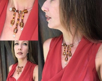 Amber Necklace, Amber and silver necklace, open style necklace or choker and earrings, jewelry set, designer necklace, one of a kind
