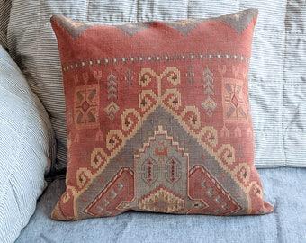Kilim throw pillow, handmade rug pillow, oriental rug pillow,  eco friendly housewarming gift or wedding gift rose-blue-yellow