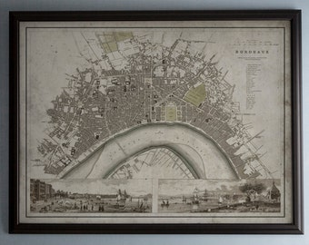 Bordeaux Map - Vintage Map of Bordeaux, France - Circa 19th C. - Weathered Map