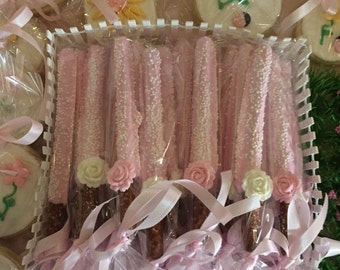 Pink and White Chocolate Covered Pretzels with Chocolate Rose