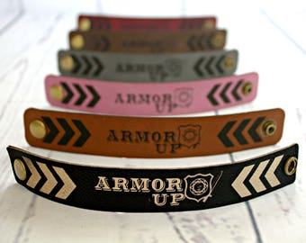 "Leatherette Cuff, BE BOLD ""Armor Up"" Wristband"