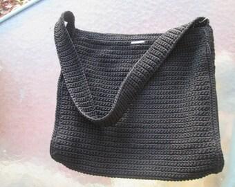 Vintage The Sak black crochet square black large shoulder or handbag. Discontinued style. Like new vintage