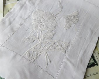 Small Edwardian Irish Linen Whitework Hand Embroidered Nightdress Slip Case