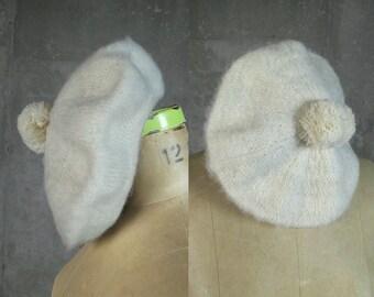 Scottish Wool Tam • Snow Bunny Beret • Cream Wool Beret • Winter Hat • Made in Scotland