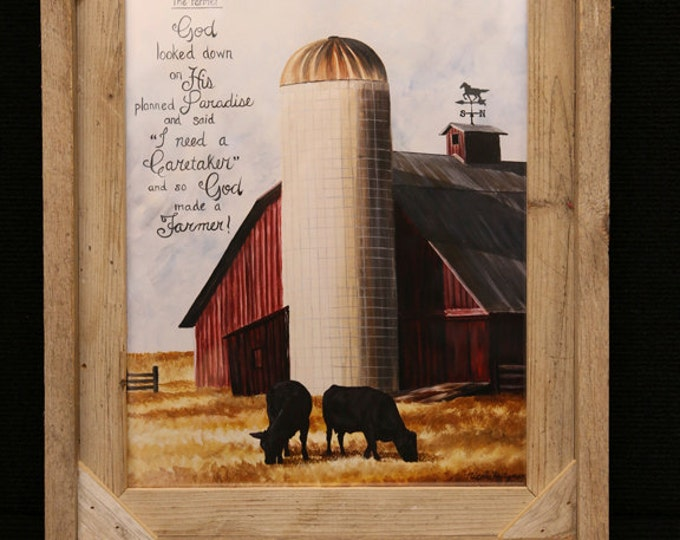 The Farmer painting Father's Day gift for men Farm print Farming Art Barn painting Cow Art Cattle Painting Barn Art gift for dad Farmer barn