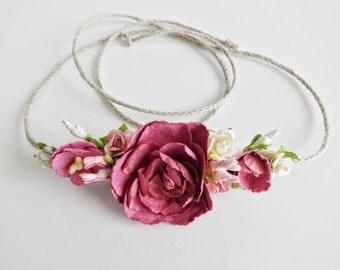 Flower Crown, Tieback Flower Crown, Toddler Headband, Newborn Photo Prop, Baby Tieback Headband, Baby Flower Crown, Newborn Headband, Bride