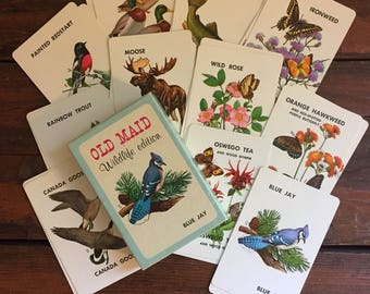 Old Maid Wildlife Edition Game / Vintage Card Game / National Wildlife Federation / 1960's