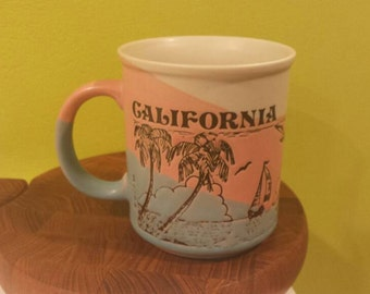 Retro 1980s California Beach and Palm Trees Pastel Ombre Mug 'Monterey Made in Japan' Label, Signed Mico 89
