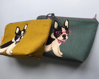 French bulldog mustard yellow cosmetic bag / pencil case