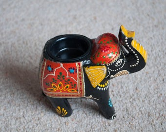 Handmade painted wooden elephant designed tealight holder