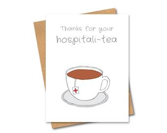 Pun Thank you Greeting Card - Hospitali-tea