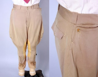 Vintage 1930s Men's Jodhpurs | 30s 40s Khaki Tan Riding Trousers With Lace Up and Button Cuffs | 35x25
