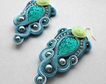 Beautiful long blue Soutache earrings