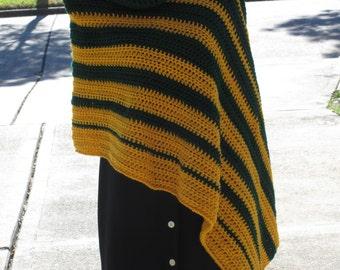 Crochet Poncho: Team Spirit Asymmetrical Poncho