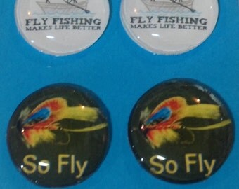 1 inch glass tile magnet set of 4 -fly fishing