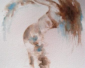 Watercolour original dance movement piece female figure