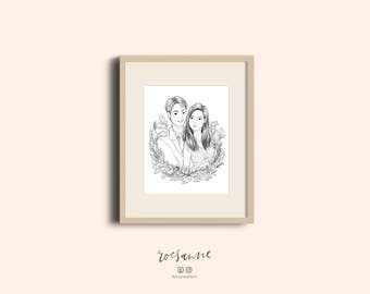Custom Line Drawing / Black and White Custom Portrait / Couple illustration / Line Art Illustration / Anniversary Gift / Personalised Gift