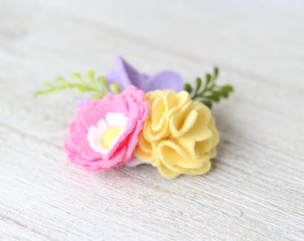 Mini Floral Cluster ~ Floral Headband ~ Flower Hair Clip ~ Baby Headband ~ Newborn Headband ~ Spring Flowers ~ Nylon Headband ~ Photo Prop ~