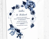 Blue Ink Botanical Wedding Invitation  Navy and White Floral Invitations for Weddings with Envelopes  A5 Size Double or Single Side