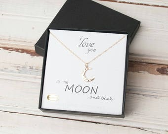 Moon Necklace, Gold Moon,  Mom Gift, Wife Gift, Love You to the Moon and Back, Girlfriend Gift, Sterling Moon Necklace, Celestial Jewelry,