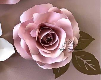 VIDEO TUTORIAL & template ROSE Bud Paper Flower/Paper flower pattern/diy paper flower/diy Paper flower backdrop