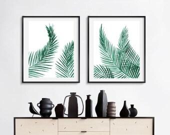 Palm leaves set of 2, printable palm leaves, printable set of two palm leaves, printable tropical set, palm leaf pall art, areca palm leaf