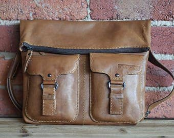 Real leather satchel bag
