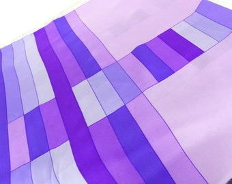 Large silk square scarf on shades of purple rectangle modern design. Buttery hand feel silk fabric.