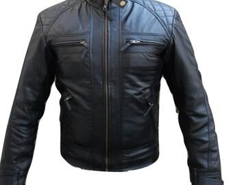 New classic mens retro style sheep leather biker jacket zip fastening black