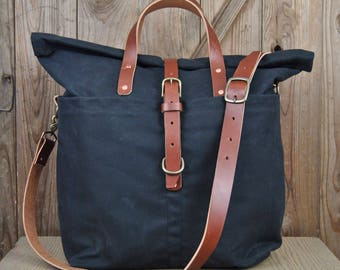 Outland Duffle Bag - Black, Canvas Duffle, Canvas and leather duffle, luggage, men's bag, women's bag
