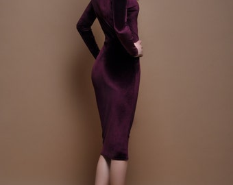 Dark Purple Velvet Mini Bodycon  Dress Long Sleeves