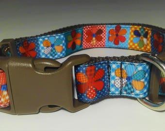 Adjustable Floral Dog Collar - Brown