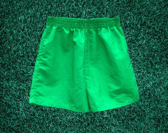 80's Neon Lime Surf Shorts w/ Blue Shift