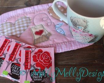 Tea mug rug - 5x7 hoop - In The Hoop - Machine Embroidery Design