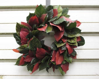 """Preserved Salal (Lemon Leaf) Wreath/Candle Ring 14"""" Dark Basil Green and Russet Handcrafted for Home Decor, Wedding, Rustic Farmhouse"""