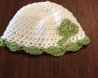 Crochet St. Patrick's Day Clover Shamrock Hat-Shamrock Hat-Clover Hat-St. Patrick's Day Hat-Baby 1st St. Patrick's Day-St. Patty's Day