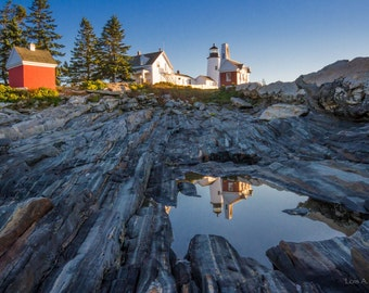 Pemaquid Lighthouse in Maine reflected in a tide pool. Photograph printed on canvas.