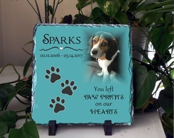 Pet Memorials and  Sympathy Gift, Loss of Pet Memorial Stone Slate, Pet remembrance, Personalized Memorial Photo Slate