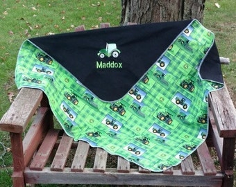 Personalized John Deere Tractor Fleece Baby/Toddler blanket - Custom Name-  Baby shower gift - unique gift - baby bedding accessory