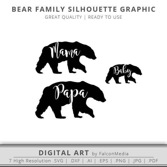 Mama Bear Papa Bear Baby Bear Silhouette Outline Graphic