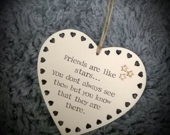 Friends are like stars heart shaped plaque