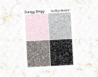 Goodbye Winter Glitter Headers   28 Stickers